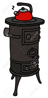 Hand Drawing Of An Old Stove With A Teapot Stock Vector