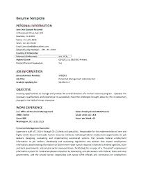 Sample Personal Resume Information In Example Of