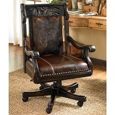 Carved Elk Office Chair With Brindle Hide