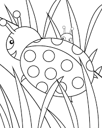 Ladybug Coloring Pages On Grass