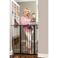 regalo extra tall black baby gate 29 40 with walk through door