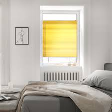 plissee klemmfix ohne bohren verspannt blickdicht hitzeschutz gelb