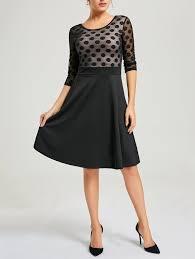 vintage dresses black 2xl mesh panel polka dot a line dress gamiss
