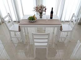 massivholz esstisch und 4 stühlen zeitgenössisches esszimmer set weiß