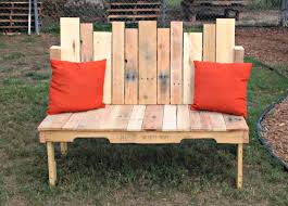 captivating patio with diy wood pallets garden bench on concrete