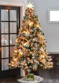 White Pre Lit Pop Up Christmas Tree by Our Teal Green Silver And White Vintage Inspired Flocked