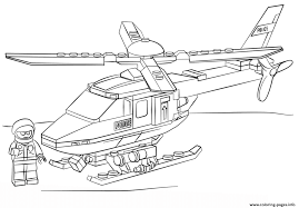 Lego Police Helicopter City Coloring Pages