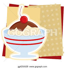 Drawings Illustration of an ice cream sundae sign without title Stock Illustration gg