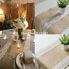 Burlap And Lace Wedding Table Runners Cake