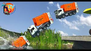 100 Truck Jumping TRUCK GARBAGE JUMP FAIL In WATER BRUDER Toys In Action YouTube