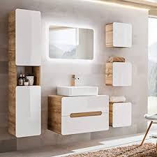 lomadox badezimmermöbel set in hochglanz weiß mit wotaneiche keramik waschtisch mit unterschrank led spiegel