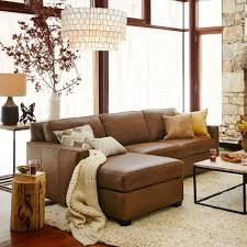 Brown Sectional Living Room Ideas by Turner Roll Arm Leather 3 Piece L Shaped Sectional Pottery Barn