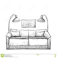 Drawn Couch Sofa 1
