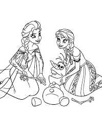 Elsa Princess Anna Queen And Olaf Colouring Page