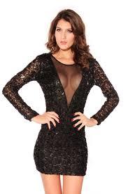 new women see through black sequin pattern dress lalalilo com