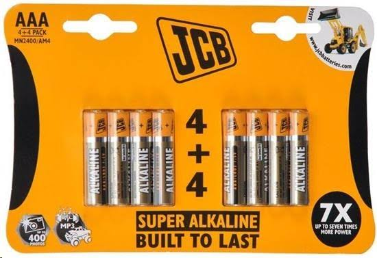JCB Super Alkaline Batteries - 4 Plus 4, AAA