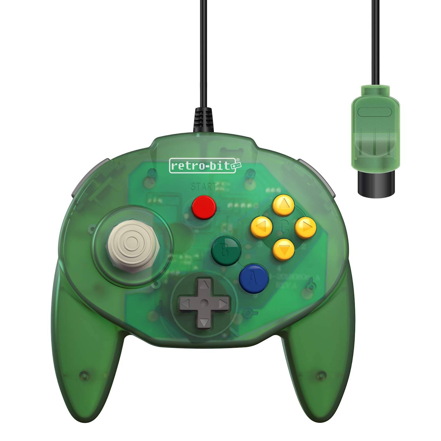 Retro-bit Tribute 64 Controller for Nintendo N64 - Original Port - Forest Green