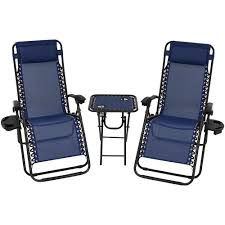 Sunnydaze Decor Zero Gravity Navy Blue Sling Beach Chairs With Side Table  (Set Of 2)