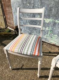 Vintage 1960's White Shabby Chic Dining Room Chairs With Pastel Stripe  Seats X 2 | In Colchester, Essex | Gumtree Roseberry Shabby Chic French Country Cottage Antique Oak Wood And Distressed White 7piece Ding Set Four Stripy White Blue Shabbychic Ding Chairs Hand Painted Finished In Woking Surrey Gumtree Table Chairs Best Of Ripley Chair Pine Round Room Height Lights Ballad Decoration Tables Balloon Back Antique White French Chic Ornate Ding Table Set With Decor Cozy Slipcovers For Inspiring Interior My Home Room Ideas Chic Diy Shabby Chrustic Chair Basil Chaise