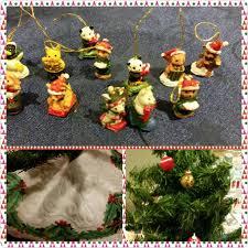 Hallmark Christmas Tree With Miniature Ornaments And Mini Skirt