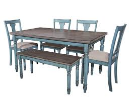 Ortanique Round Glass Dining Room Set by Willow Teal Blue Mdf Rubberwood Natural Fabric 6pc Dining Room Set