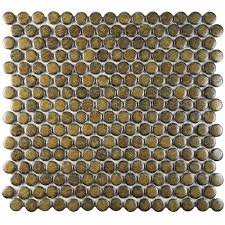 12x12 Ceiling Tiles Walmart by Merola Tile Hudson Penny Round Brownstone 12 In X 12 5 8 In X 5