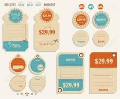 Vintage Labels Template Set Sale Discount Theme Retro Logo Design Stock Vector