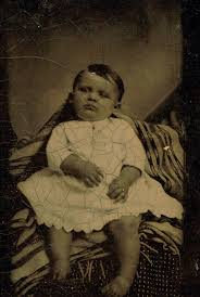 A Victorian post mortem photograph of a baby