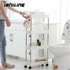 großhandel 2 3 4 schicht gap küche storage rack dünne folie turm movable plastik badezimmer regal räder platzsparend organizer zusammenbauen