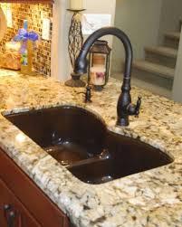 Kohler Langlade Smart Divide Sink by Kohler Langlade Sink In Sandbar With Bellera Faucet In Orb Sinks