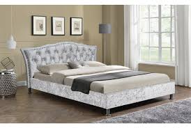 Velvet Headboard King Size by Georgio Crushed Silver Diamante Headboard Designer Bed Fabric