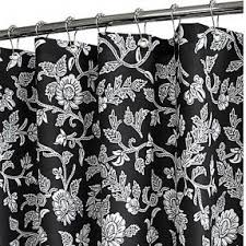 Black And White Flower Shower Curtain by Black Fabric Shower Curtain Foter