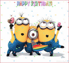 Animated image of 3 minions and text Happy Birthday here