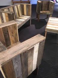Furniture Pallet Patio Black Wooden Table With Shelf And Wheel Near