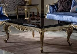casa padrino luxus barock couchtisch schwarz silber gold handgefertigter massivholz wohnzimmertisch wohnzimmer möbel im barockstil
