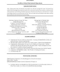 Sample Facilities Management Resume Facility Manager Professional