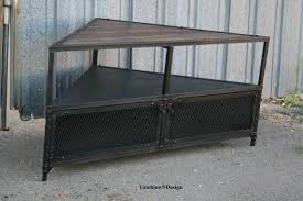 Custom Made Corner Unit Tv Stand Vintage Modern Industrial Steel Reclaimed