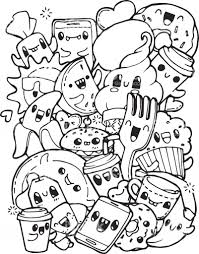 Food Coloring Pages Cute Zimeon Me Lively With Kawaii Crush