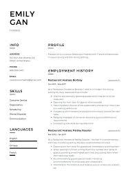 Sample Resume For Hostess Restaurant Objective