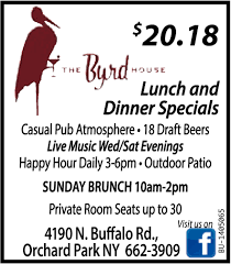 100 Byrd House Orchard Park Lunch And Dinner Specials The NY