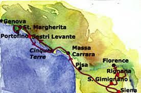 Map Of Tuscany Biking Cinque Terre Walking Tour