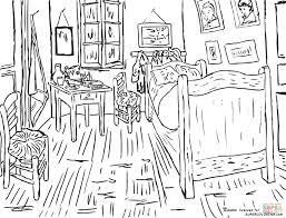ausmalbild schlafzimmer in arles vincent gogh