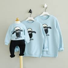 Kids Sheep Pattern Blouse Mother Father Baby Clothes Family Look