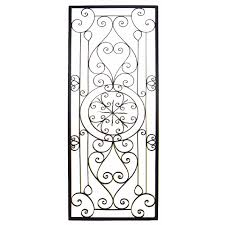 This Tuscan 64 Large Rectangular Wrought Iron Wall Grille Plaque Is Crafted From