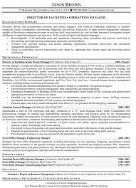 Director Of Facilities Resume Example Management