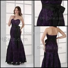 elegant purple prom dresses sweetheart mermaid lace black sash