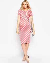 asos maternity bodycon dress in spot print with cross front in