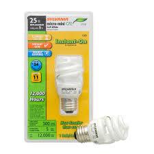 shop sylvania 25 w equivalent soft white a19 cfl light fixture