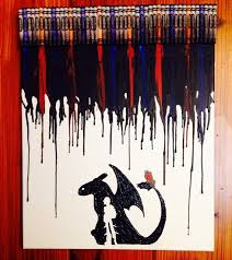 How To Train Your Dragon Melted Crayon Art On Etsy 3500