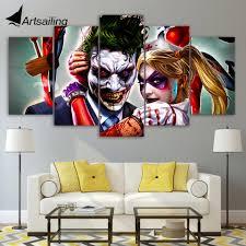 hd gedruckt joker harley und quinn bild malerei künstlerischen druck wand kunst wohnzimmer decor poster leinwand freies verschiffen xa1186b